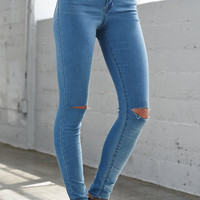 Bullhead Denim Co. Baby Blue Ripped Super High Rise Skinny Jeans at PacSun.com