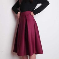 Retro Flared Midi Skirt