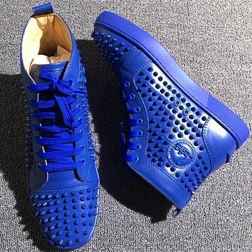 Christian Louboutin CL Louis Spikes Style #1876 Sneakers Fashion Shoes Online
