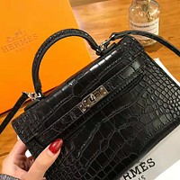 Hermes High Quality Classic Popular Women Leather Handbag Tote Shoulder Bag Crossbody Satchel Black
