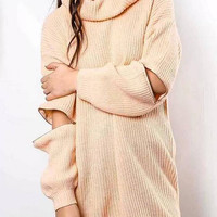 Pink Crowl Neck Zippered Sleeve Sweater
