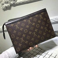 G8HQ Louis Vuitton Woman Men Envelope Clutch Bag Leather File Bag Tote Handbag G