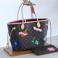 Lv Brown Neverfull Mm With Patch