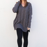 What I Want Oversized Knit {Charcoal}