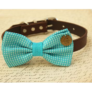Blue Dog Bow Tie attached to collar, wedding accessory, Beach wedding , Wedding dog collar