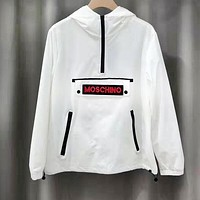 MOSCHINO Popular Women Men Casual Hoodie Sweatshirt Half Zipper Coat Windbreaker Black