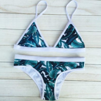 Leaves Print Triangle Bandage Swimwear  Bikini Set