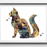 Cat watercolor print, cat poster, maine coon cat breed illustration maine coon giclee print, cat art, wall art, cat lovers gift [N 228]