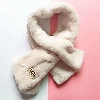 UGG Autumn Winter Stylish Women Cute Plush Scarf Beige