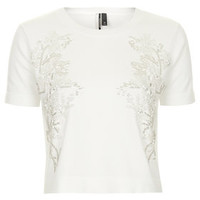 Embellished Front Knit Top - White