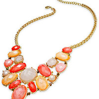 Charter Club Necklace, Gold-Tone Coral Stone Bib Necklace - All Fashion Jewelry - Jewelry & Watches - Macy's