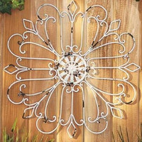 Metal Wall Sculpture Iron White Antiqued Finish Large Decor Medallion Art Rustic