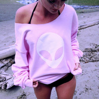 Loose Alien Long Sleeve Cotton Sweatshirt Tops Shirt [9535621252]