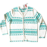 Teal, Turquoise and White Tacky Ugly Ski Sweater – New!