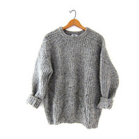 Vintage speckled sweater. Oversized grey sweater. Wool sweater. Woolrich gray wool sweater.