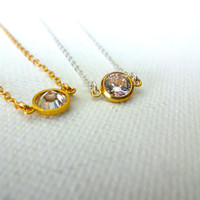 Handmade 14k Gold Fill Bezel Cubic Zurconia Solitaire Pendant Choker Necklace; Cubic Zurconia & 925 Sterling Silver Charm; Deconstructed CZ