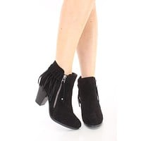 Fringe Booties - Black