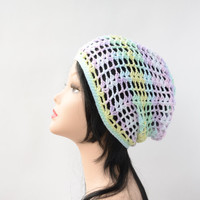 womens beanie pink lilac yellow summer crochet hat cotton slouch hat girlfriend gift for her cotton beanie cap