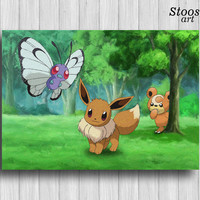 eevee pokemon print butterfree teddiursa pokemon room decor