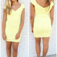 Hot Days Cool Nights Yellow Floral Lace Bodycon Dress