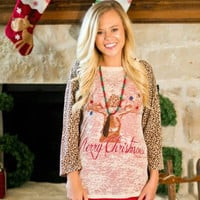 Merry ChristMoose Shirt with Leopard Sleeves