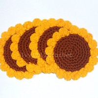 Set of 6 Sunflower Crochet Coasters - Finished Handmade Beverage Kitchen Home Decor Housewares Coasters or Potholders