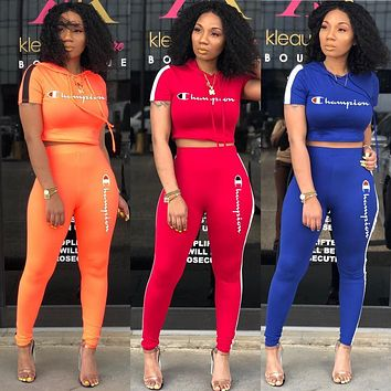 CHAMPION Womens Two Piece T-Shirt and Pants Set Clothing A8053