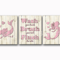 Girl bathroom wall art Wood wall decor kids bath artwork pink mermaid rules for children brush flush wash kids manners sea life whale poster