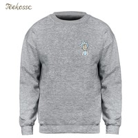 Rick and Morty Sweatshirt Men Small Rick Logo Hoodie Crewneck Sweatshirts 2018 Winter Autumn Funny Print Hoody Brand Clothing