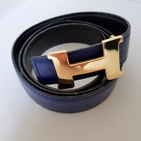 AUTH HERMES MINI CONSTANCE YELLOW GOLD BUCKLE 24MM WIDE BELT 90 cm BLACK & BLUE