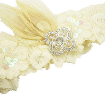 Square filigree lace bridal garter/ white ivory lace/ custom peacock feather /rhinestone bling green teal blue/ garter toss/ stretch/ bling