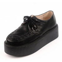 Fashion Geniune Leather Ladies Black Lace UP Flat PlatForm Sexy Women's Oxfords Goth Creepers Punk Handmade Warm Shoes Boots Creepers Pumps
