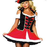 Sexy Pirate Halloween Costume 2pc Mini Dress and Hat Small/Medium Adult Womens
