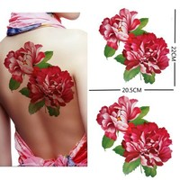 """Extra large size red peony flower temporary tattoos 8.66""""x8.07"""" Inches"""