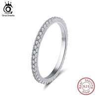 ORSA JEWELS 100% 925 Sterling Silver Rings Women Classic Round Full Pave AAA Cubic Zircon Engagement Wedding Band Jewelry SR63