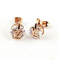 Louis Vuitton LV Fashionable Women Simple Letter Single Diamond Earrings Accessories Jewelry I-HLYS-SP