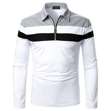 Men's Tricolor Stitched Long-sleeved Shirts