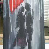 Hand painted wood framed canvas - Couple under a red umbrella in the rain