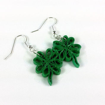 Shamrock Earrings St Patricks Day - four leaf clover earrings, green earrings, green shamrocks, irish jewelry, paper quilling shamrocks