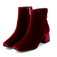 2016 Fashion Velvet Boots Ankle Boots Women Square Toe Women Boots Thick Heel Wine red Chelsa Boots Winter Women Shoes,WH0231