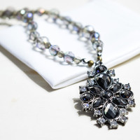 Smokey Crystal Necklace Sparkle Metal Pendant Smokey Necklace Black Pendant Sparkly Necklace Shiny Beaded Necklace