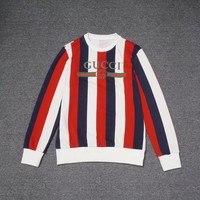 2018 GUCCI autumn and winter new vertical strip printing round neck sweater