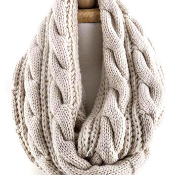 Ivory Cable Knit Infinity Scarf