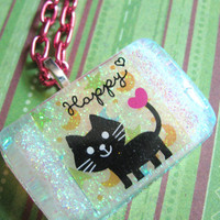 Happy Cat Necklace Resin Necklace