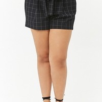 Plus Size Grid Print Paperbag Shorts