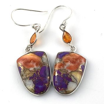 Spiny Oyster Purple Turquoise Sterling Silver Drop Earrings