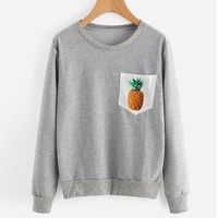 US 2017 New Design Autumn Casual Women Pineapple Print Blouse Fashion Tops Ladies Cotton Long Sleeve O-Neck Pullover Sweatshirt