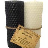 "4 1/4"" Wiccan Altar set black & white Lailokens Awen candle"