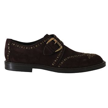 Dolce & Gabbana Brown Suede Monkstrap Silver Studded Shoes