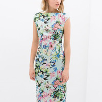 Green Floral Cap Sleeve Bodycon Cheongsam Midi Dress